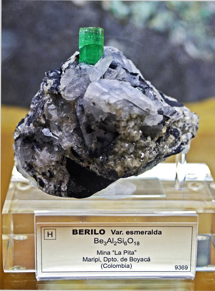 Berilo var. esmeralda Museo Geominero. Madrid.